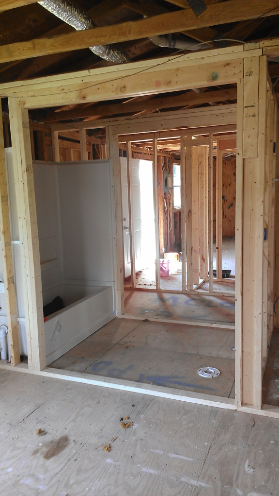 Master bath during construction
